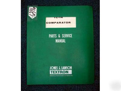 Jones & lamson parts/service manual for tc-14 compator
